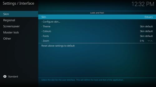 2nd Step to Change Skin on Kodi-