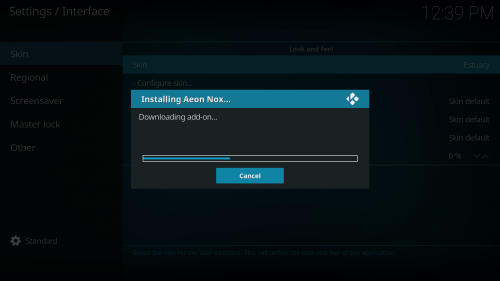 4th Step to Change Skin on Kodi