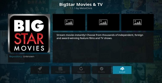 Big Star Movies kodi addon for movies