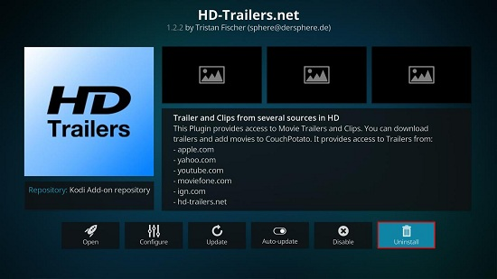 How to remove kodi addons on jarvis version 16 or higher