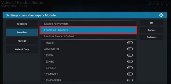 Enable All Providers
