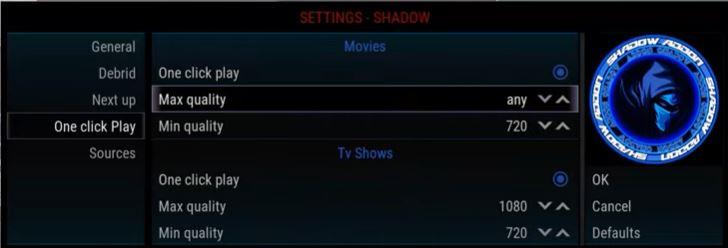 Shadow addon setting